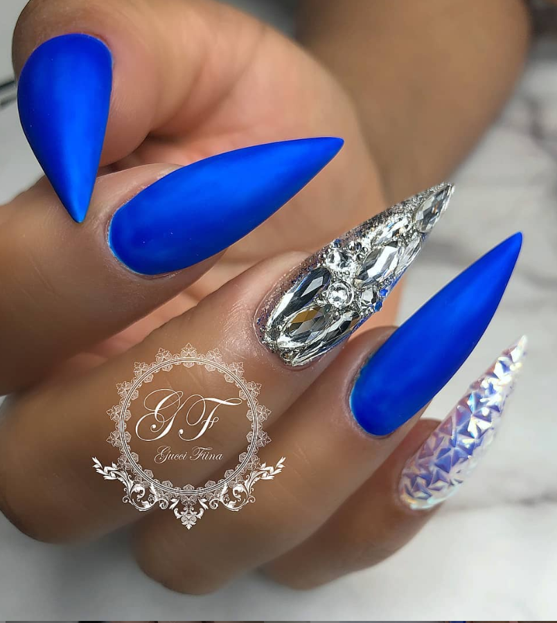 50 Fabulous Sparkly Giltter Acrylic Blue Nails Design On Coffin And Stiletto Nails To Try Now