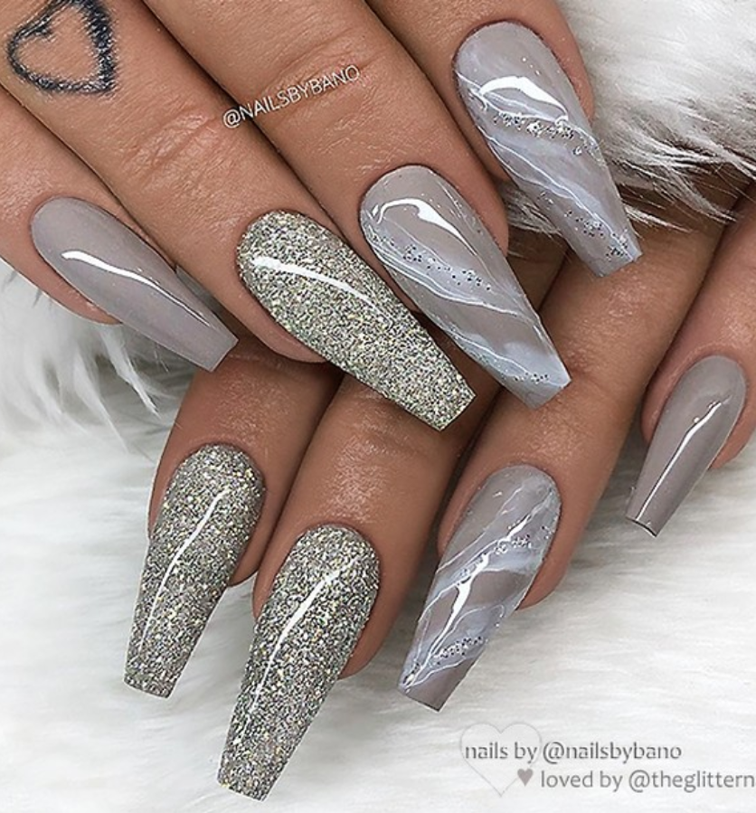 50 Gogerous Matte Water Marbel Nails Design On Coffin Nails & Stiletto Nails