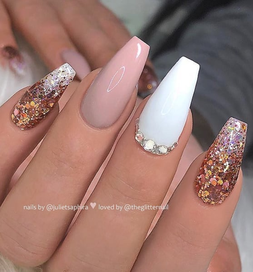 50 Pretty French Pink Ombre And Glitter On Long Acrylic Coffin Nails Design