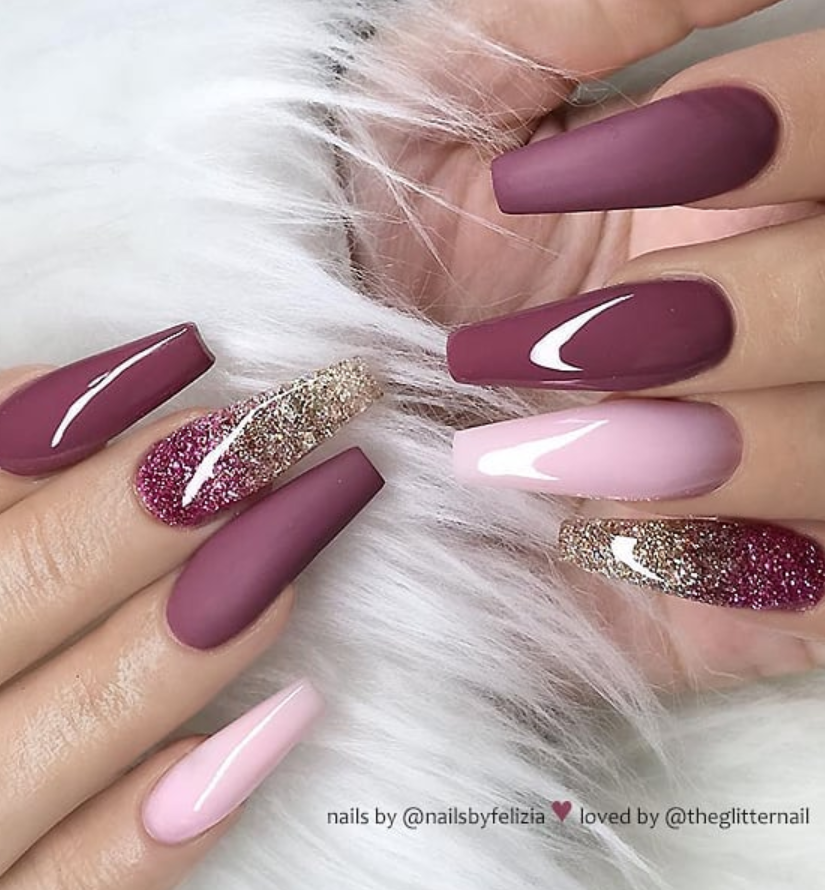 50 Pretty French Pink Ombre And Glitter On Long Acrylic