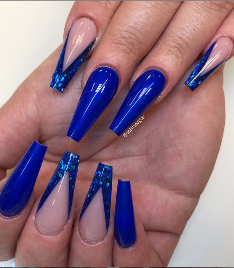 50 Fabulous Sparkly Giltter Blue Nails Design On Coffin And Stiletto Nails To Try Now
