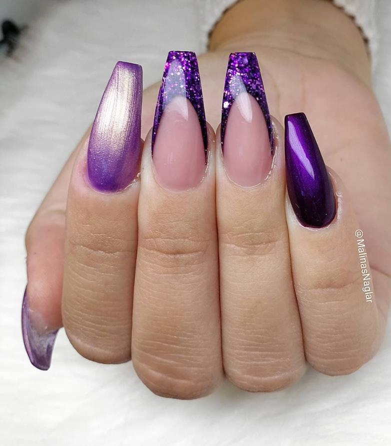 60+ Gorgeous Acrylic ?Purple Nails Art Design Ideas