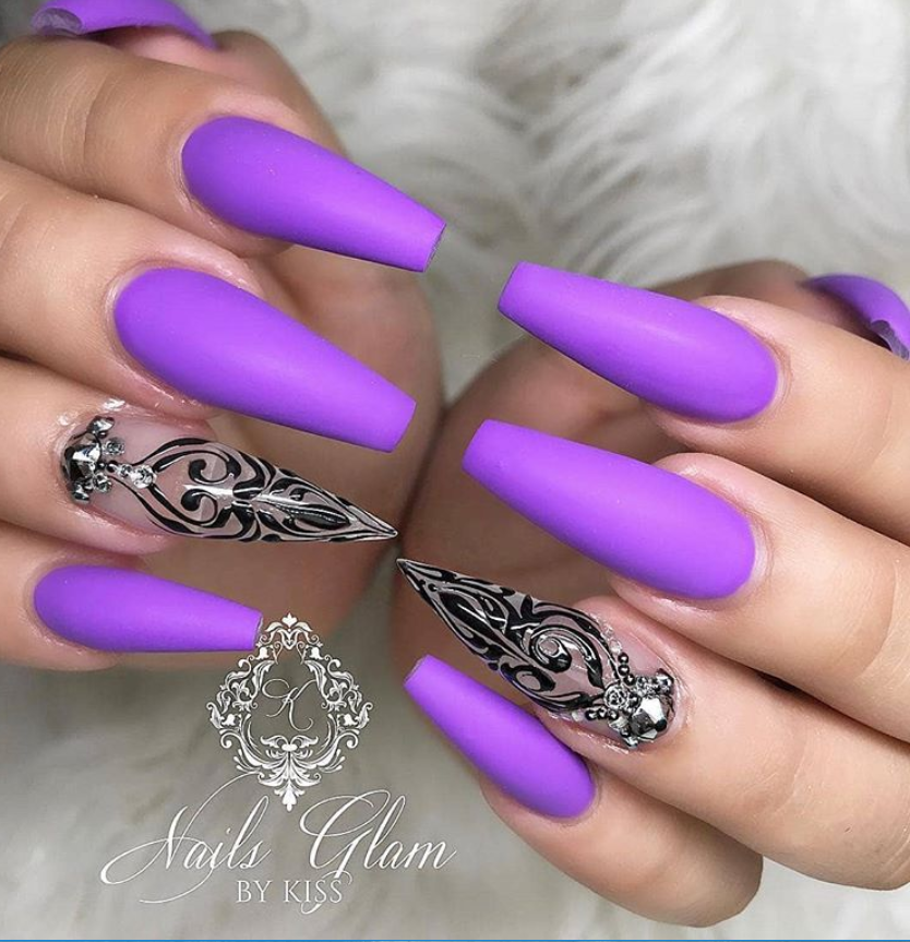 60+ Gorgeous Acrylic 💜Purple Nails Art Design Ideas - Fashionsum Blog