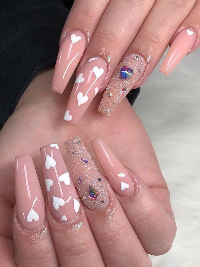 Acrylic nails full set with bubble bath nail polish - New